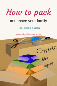 Moving tips on how to pack plates, books, and how to stay organized. All while pregnant and with a toddler running around. Includes what supplies you need and where you can get free boxes.