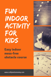 Need a rainy day activity your kids can do indoors and still burn off some energy?  Try this easy exercise obstacle course and Bingo game.