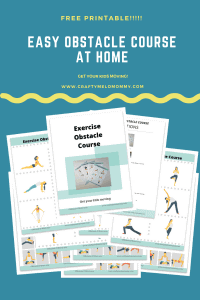 Create an easy no mess obstacle course. Use this FREE PRINTABLE to help your kids burn off their energy at home. #rainydayactivity