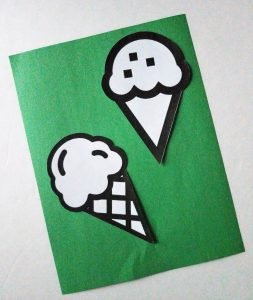 Ice cream on extra paper