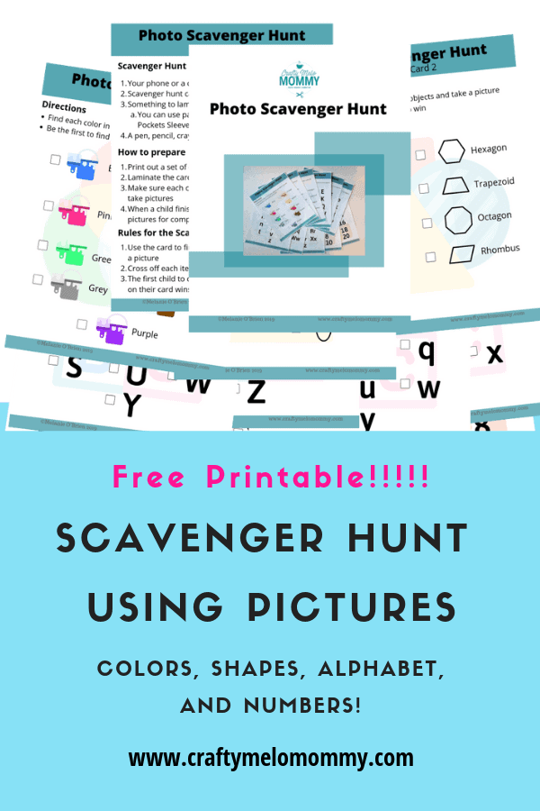 Easy scavenger hunt learning game for your kids. Helps your child learn colors, shapes, letters, and numbers! Plus a FREE PRINTABLE!!!
