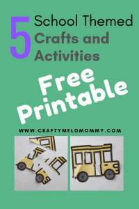 Back to school crafts and activities FREE PRINTABLE! Includes 5 simple back to school themed crafts and activates.