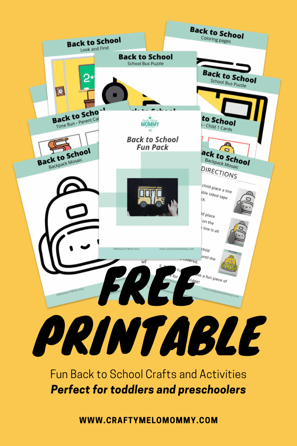 FREE PRINTABLE back to school crafts and activities for toddlers and Pre K.
