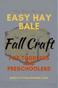 Simple and fast hay bale craft for kids to make. Help your preschooler or toddler make a hay bale mosaic.