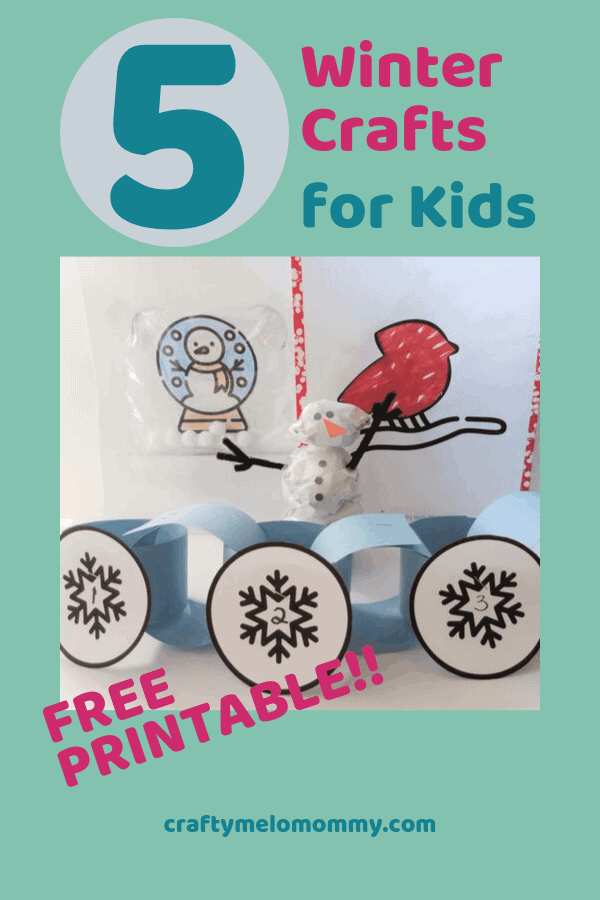Easy 15 minute winter crafts to do with your kids on snow days. Crafts include a construction paper winter decoration craft, winter craft snow globe, mini-indoor snowman, winter bird, and a super cute sledding scene. Each of these winter craft ideas are perfect for toddlers, preschoolers, preK, and elementary ages. These winter crafts are great when you are stuck at home. #EasyWinterCrafts #WinterCraftsforKids #ConstructionPaperWinterCraft #snowdayactivities #kidswinterart #diywintercrafts