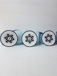 Finished snowflake construction paper chain