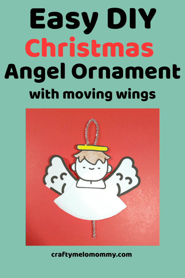 Make an adorable homemade angel ornament with your kids. These DIY ornaments would also make a great gift to give to the grandparents or loved ones in your kid's life. This is a fun simple way to entertain your child this Christmas season. Using a pipe cleaner, the FREE PRINTABLE template and a few other supplies, your child can make an angel ornament to play with or give as a gift. This DIY kids Christmas craft will take 15 minutes or less to make. #AngelChristmasOrnament #EasyAngelChristmas