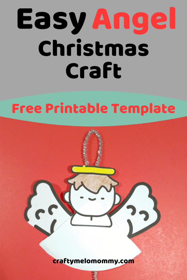 Need a fun and simple way to entertain your child this Christmas season? Using a pipe cleaner, the FREE PRINTABLE template and a few other supplies, your child can make an angel ornament to play with or give as a gift. This DIY kids Christmas craft is quick and makes an adorable homemade Christmas gift. This would also be an amazing party craft for kids to do. Best of all, it is a low-mess craft. #AngelChristmasOrnament #EasyChristmasAngelOrnament #WinterChristmasCraftsforKids
