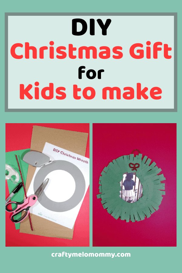 Looking for some a homemade Christmas craft that can be made for the grandparents? This Christmas wreath is a perfect idea for you to make with your kids. The DIY Christmas wreath makes a simple and unique gift. Using a cardboard box, a few other supplies, and along with the FREE PRINTABLE template, your kids can easily make this Christmas arts and crafts project. This is also a great craft for your young kids to practice fine motor skills. #ChristmasWreath #ChristmasCraftsforChildren