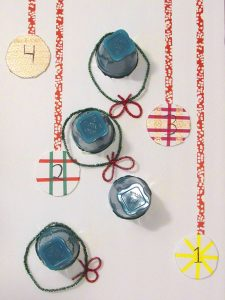 Use washi tape to decorate ornaments and points on the back