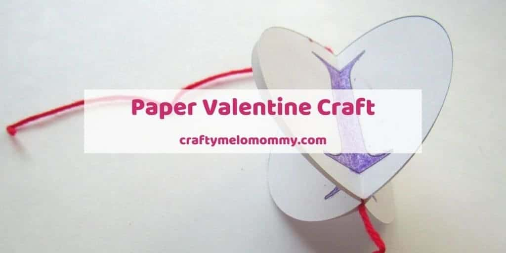 "Need a printable Valentine's Day craft? This paper Valentine craft is easy to make and only requires a few supplies. This craft is simple and perfect for toddlers and preschoolers. It makes a great DIY decoration to get your house ready for the Valentine holiday. Or, your kids can make this cute Valentine craft as a gift for a dad, mom, or grandparent. Help your kids say ""I heart you"" with this quick and easy Valentine craft! #ValentinesDayCraftIdeas #EasyValentineCraft #PaperValentineCraft"