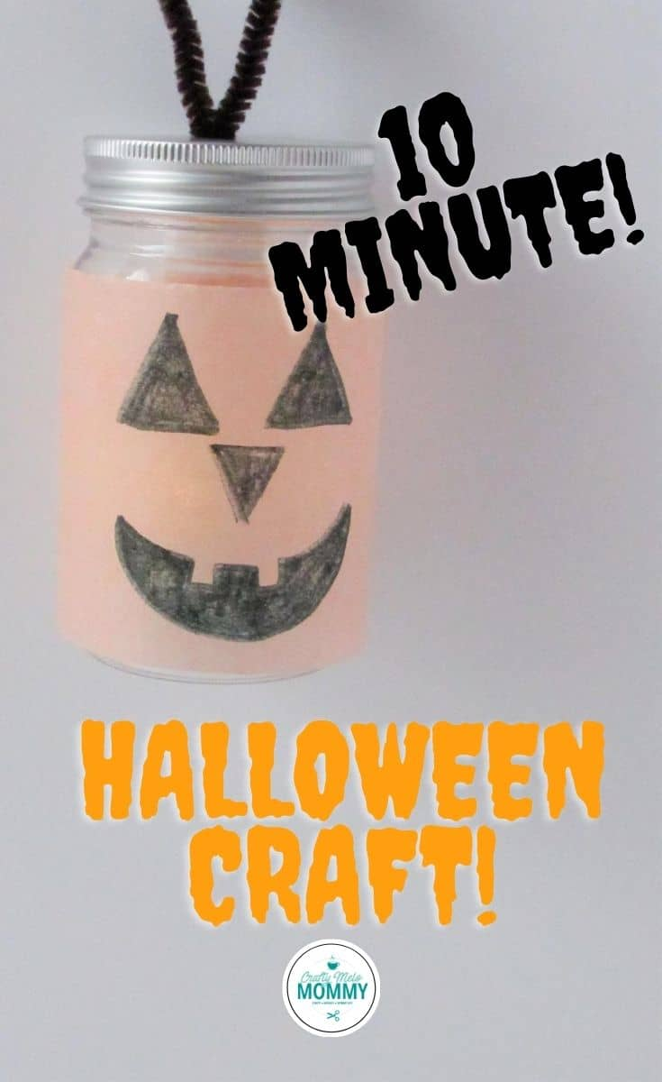 Are you looking for fun Halloween crafts for your toddlers, preschoolers, and elementary-aged kids to make? You and your kids can make 3 fun Halloween jars unless than 20 minutes. The jars include a jack-o'-lantern, witches hat, and ghost. #easyhalloweencrafts #pumpkincraftsfortoddlers