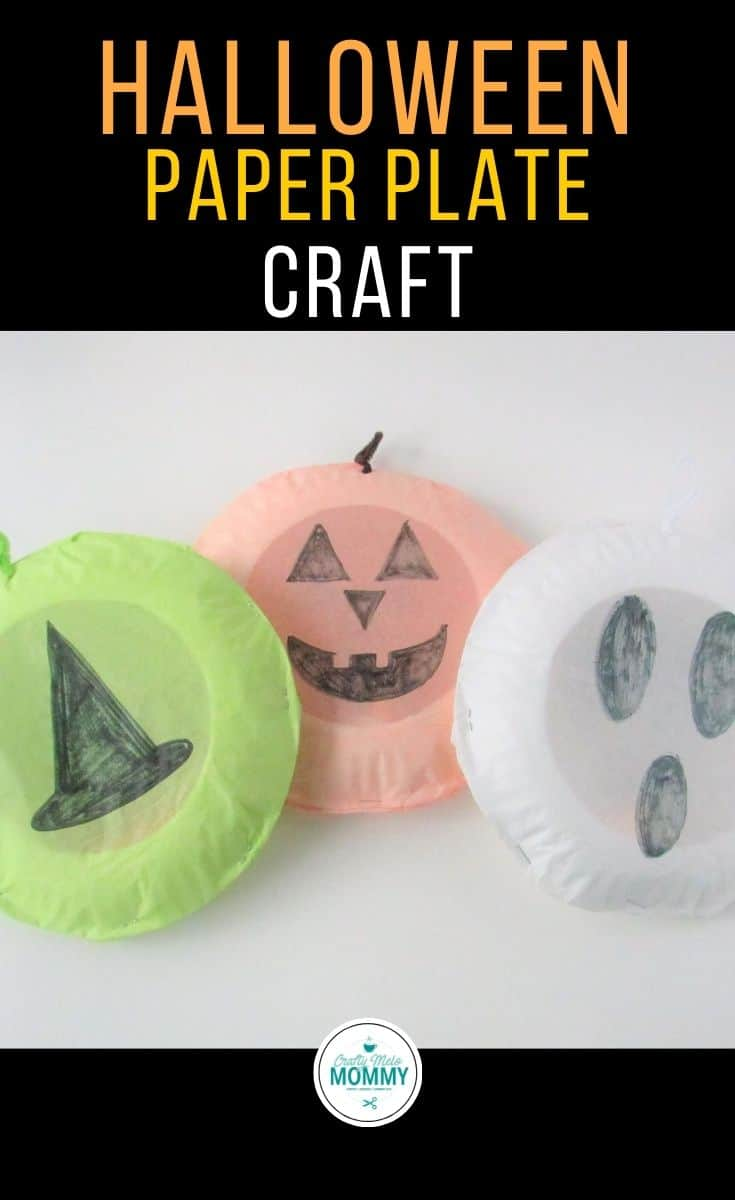 Are you looking for easy Halloween crafts for your kids to make? You and your kids can make these three cute paper plate Halloween luminaries and use them to decorate your house this Halloween season. These paper plate arts and crafts projects include a Jack O'Lantern, a witches hat, and a ghost. Each one only takes about 10 to 15 minutes to make. The directions have also been separated so parents can set up the craft beforehand and save some time. #DIYHalloweencraftforkids