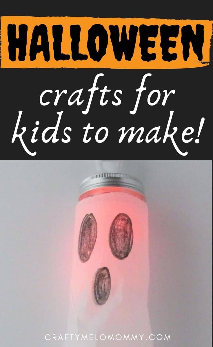 Your kids can make these adorable Halloween jars, and then decorate your house with DIY crafts they made. Because these only take a few minutes to create, your kids will want to make even more. Both of my girls loved the ghost the most. We had to make another ghost so each girl could have one. I would recommend buying extra supplies if you have more than one child so there's no fighting. #pumpkinideasforkids #ghostcrafts #whichhatcraft