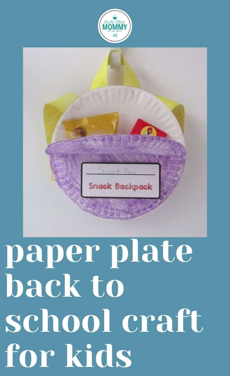 Are you looking for an easy back to school crafts for kids to make? A cute paper plate backpack is easy to make and also an adorable snack bag. This is a great way to welcome kids back to school or just two make fun School themed crafts. The directions for this craft are a free printable and also include a cute Macy's search and find the page and finish the pattern page. #backtoschoolcraft #paperplatebacktoschoolcraft #paperplatecraft