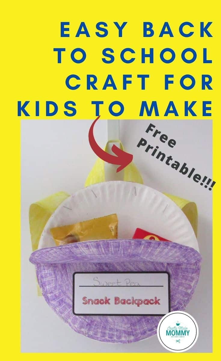 Looking for an easy and simple back to school crafts for kids to make? This DIY paper plate backpack is perfect. Too easy to create, includes a free printable, and also includes a fun activity pack that goes along with the school theme. This is the perfect way to welcome your kids' school. #easybacktoschoolcraft #paperplateschoolcraft #funpaperplatecraft