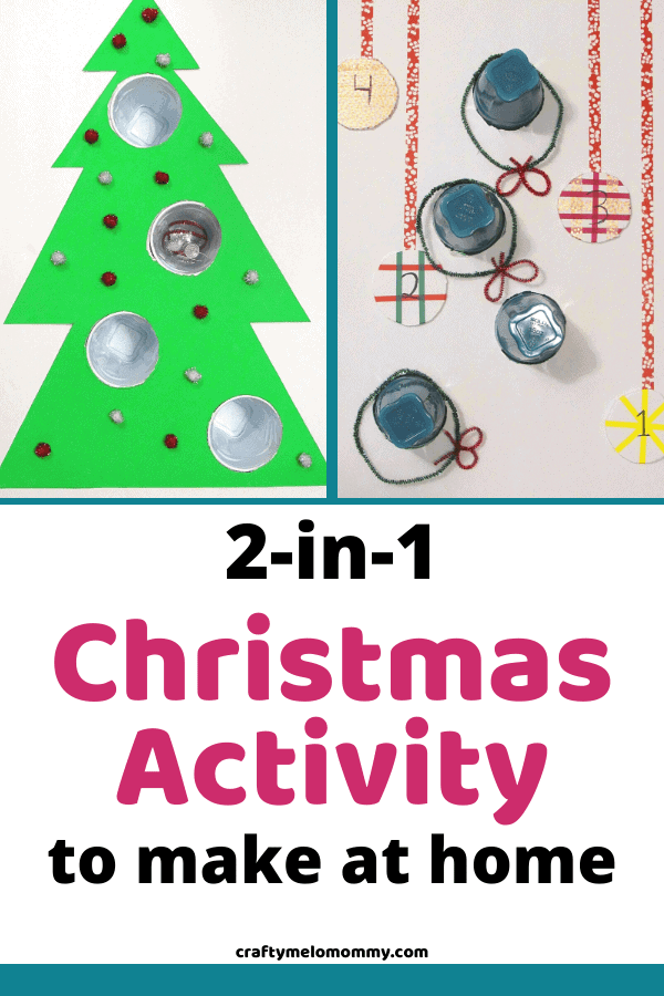 Looking for ways to make Christmas more fun? Why not make your own Christmas game? Best of all, it is 2 GAMES IN 1!! You can also get the FREE PRINTABLE SCORECARD to help your family keep track of the points. BONUS, it also helps children practice addition and taking turns! Learn how to make these fun Christmas games the whole family can play together. Perfect for groups including kids 3-years-old and up! #ChristmasFunActivities #ChristmasActivitiesforKids #ChristmasEducationalActivities
