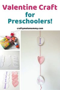 Do you need a Valentine's Day craft for preK? Are you looking for a DIY gift your kids can make a loved one? This is a great craft made with paper that includes a free printable! It is easy to make and only requires a few supplies. It is also an easy idea for a DIY Valentine's Day hanging decoration. While making this craft, your child can use their fine motor skills along with their listening skills. #ValentinesDayCraft #ValentineCraftIdeaforKids #VdayCraftforKids